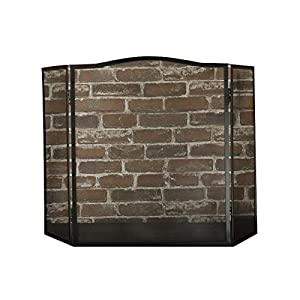 YYLL Wood-Burning Real Fire Fireplace Screen,37.79 W X 24.01H (in Inches) (Color : Black) from YYLL
