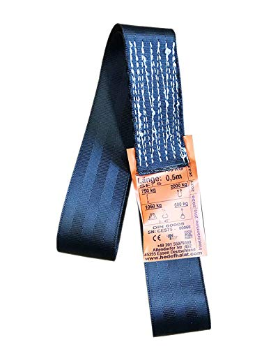 Einweg Endlosschlinge 0.75 Tonnen Tragfähigkeit 2 Meter Länge Hebebänder Bandschlinge Rundschlinge Hebeband Hebegurt aus Polyster mit Endschlaufen für Kran, Abschleppen Schwarz