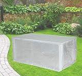Fachhandel Plus Komfort Schutzhülle für rechteckige Gartentische 180x100x75 cm transparent Möbelschutzhülle für Terrassentisch