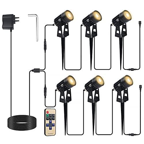 CPROSP 6er LED Gartenbeleuchtung mit Erdspieß mit Fernbedienung, Gartenstrahler Warmweiß, Gartenleuchte mit Stecker, IP65 Wasserdicht, 6 x 1W LED, 10 X Leuchtenmodes,16,3M Kabel