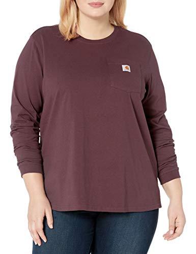Carhartt Women's K126 Workwear Pocket Long Sleeve T-Shirt (Regular Sizes), Deep Wine, X-Large Plus Georgia