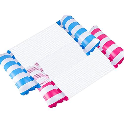 2 Pack Aufblasbare Hängematte Wasser Luftmatratze mit Netz Erwachsene 4 in 1 Mehrzweck Luftmatratze für Pool Wasserhängematte Bett Liege für Erwachsene und Kinder
