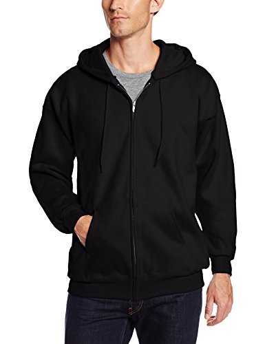 Hanes Men's Full Zip Ultimate Heavyweight Fleece Hoodie, Black, Large