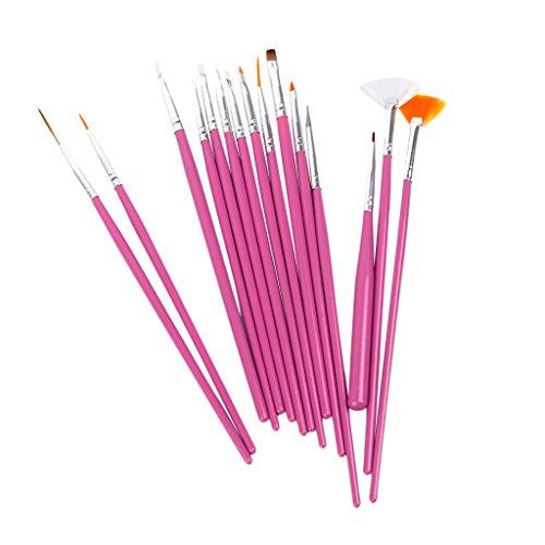 Lote de 15pinceles para arte, pintura y diseño de uñas, color rosa