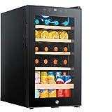 LLZH Vinoteca Compresor de 19 Botellas con Cerradura, Nevera Vino Grande, Refrigerador de Bebidas en Encimera, Estantes Ajustables de Madera de Haya, Negro