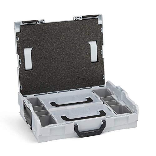 Bosch Sortimo L BOXX 102 | inkl. Insetboxenset 2x L BOXX Mini | Größe 1 in Lichtgrau | Werkzeugkoffer klein leer | Ideale Werkzeugaufbewahrung Box