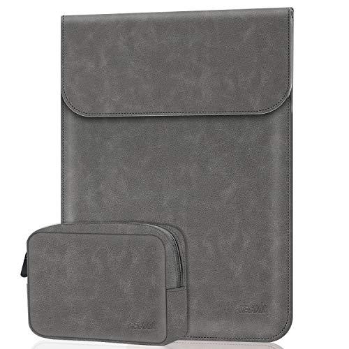 TECOOL 13-13.3 Zoll Laptop Hülle Tasche mit Zubehörtasche Faux Wildleder Leder Schutzhülle für 2010-2017 MacBook Air 13 A1466/A1369 2012-2015 MacBook Pro 13 A1502/A1425, Huawei Matebook X Pro, Grau