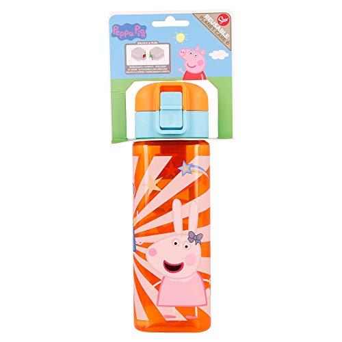 Peppa Pig   Botella Reutilizable infantil con Sistema Antigoteo y asa para transportar - Facil Apertura con botón - Libre de BPA- Material Ligero y Resistente - Capacidad 550 ml