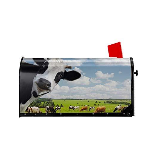 MSGUIDE Magnetische Briefkastenabdeckung, wasserdicht, lustige Kuh auf dem Grasland, Briefkastenabdeckung, Standard-Größe, 45,7 x 53,3 cm, für Haus, Garten, Hof, Außendekoration