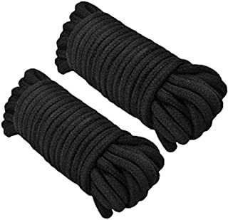 Soft Rope Cord,2Pack Soft Cotton Rope 10 M/33 Feet 8 MM All Purpose Cotton Rope Craft Rope (Black)