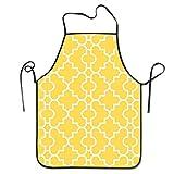 Delantal de Cocina de Estilo Quatrefoil Amarillo Mostaza, Delantal de Cocina, Cuello Ajustable y conexión Extra Larga a la Cintura para cocinar, Barbacoa, Camarero, etc.