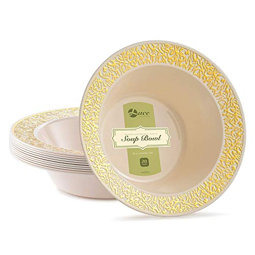 Prestee Lace Plastic Party Disposable Bowls | 12 Ounce Hard Round Wedding Soup Bowls | Ivory with Gold Rim, 20 Pack | Elegant and Fancy Heavy Duty Party Supplies Plates for all Holidays and Occasions