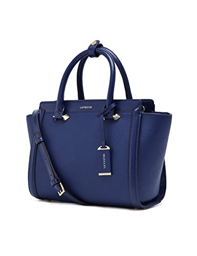 LA'FESTIN Genuine Leather Bag for Women 2017 Fashion Top Handle Handbags (Blue)