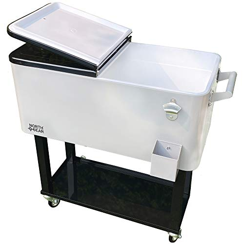North Gear Outdoor 80 Quarts Portable Rolling Cooler Cart Home Party Ice Chest Silver/Black