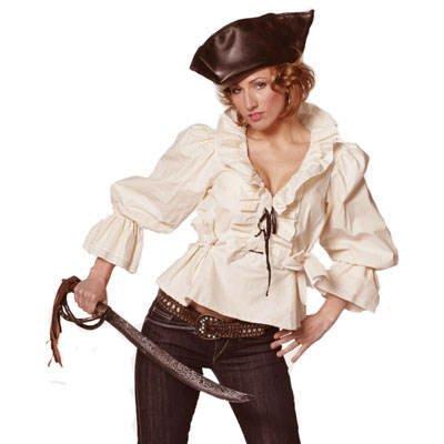 Party-Discount Damen Piratinnen-Bluse, beige, Gr.42-44