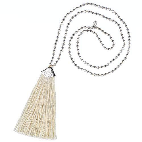 KELITCH Collares De Hilos Para Cuentas Plateados Collares Largos Con Borlas De Color Nuevo Collares Y Collares De Plata Para Mujer (Blanco)