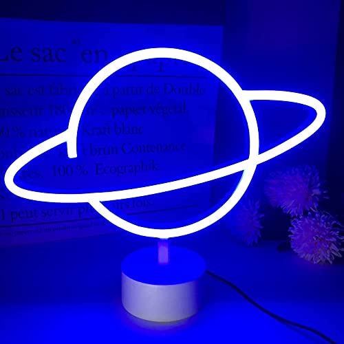 Momkids Planet Neon Lights Blue LED Light with Holder Base Battery or USB Operated LED Neon Signs for Bar Kids Room Festival Party Christmas Home Bedroom Decoration Lights