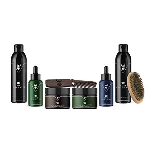 The Beard Struggle Ultimate Kit Unscented Loki - voor Heren & Baard Care W/Baard Wassen/Shampoo/Conditioner/Night olie/Dag olie, 100% Natuurlijke & Organische
