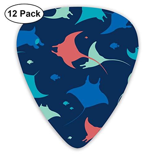 Gitaar Pick Behang Met Zee Dieren Op Blauwe Achtergrond 12 Stuk Gitaar Paddle Set Gemaakt Van Milieubescherming ABS Materiaal, Geschikt voor Gitaar, Quads, Etc