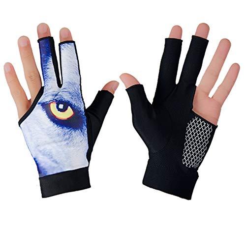 3 Fingers Show Gloves Breathable Billiard Gloves Anti-Slip Left Hand Open Glove Snooker Shooter Cue Pool Glove Durable Elastic Gloves Outdoor Indoor Sports Supplies for Women Men