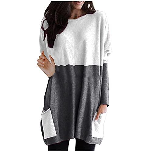 Colorblock - Vestido de manga larga para mujer, informal, con bolsillos, patchwork, minivestido de otoño, vestido de manga larga con cuello redondo, gris, S