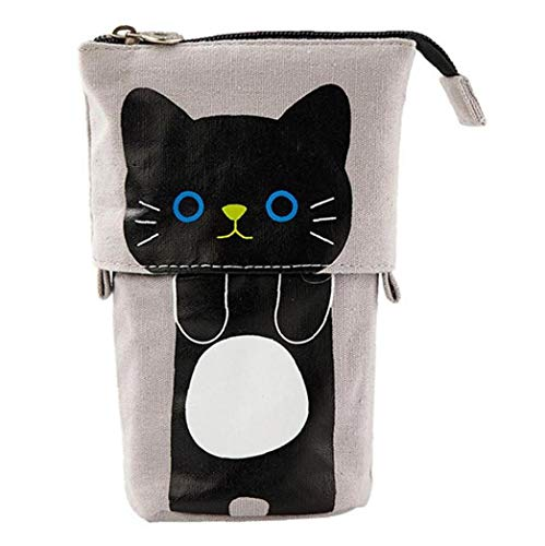 Aisoway Transformer Stand Store Pencil Holder Canvas Cartoon Cute Cat Telescopic Pencil Pouch Bag Stationery Pen Case Box with Zipper