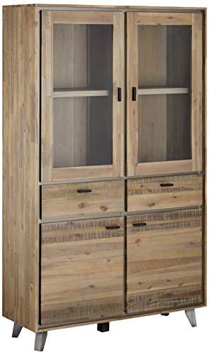 Ibbe Design Vitrine Vitrineschrank Braun Lackiert Massiv Akazie Holz Malaga mit Glastüre und 2 Schubladen, L110xB40xH187cm