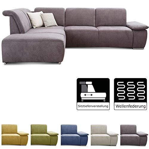 CAVADORE Ecksofa Tabagos / Große Couch mit Ottomane links / Modernes Sofa mit Sitztiefenverstellung / verstellbare Rückenlehne / 283 x 85 x 248 / Grau