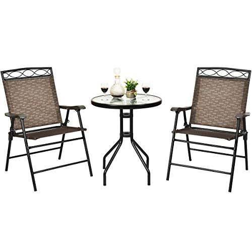 simplyUSAhello Patio Dining Set with Patio Folding Chairs and Table