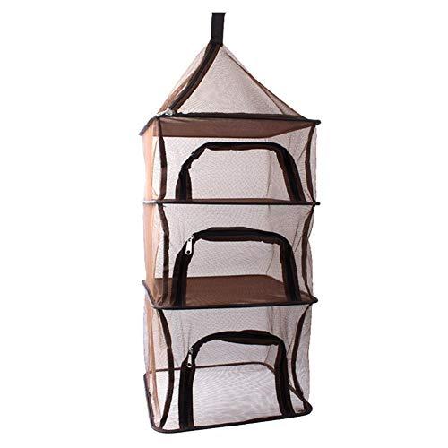 smileyshy Zusammenklappbares Trocknungsnetz, 4-lagiger Ablagekorb aus hängendem Gitter, zusammenklappbares Picknickgeschirr aus trockenem Netzregal für Camping im Freien