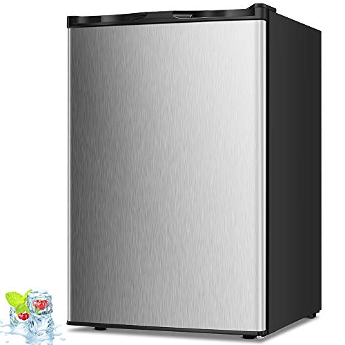 Kismile 3.0 Cu.ft Compact Upright Freezer with Reversible Single Door,Removable Shelves Mini Freezer with Adjustable Thermostat for Home/Kitchen/Office (3.0 Cu.ft, Stainless Steel)
