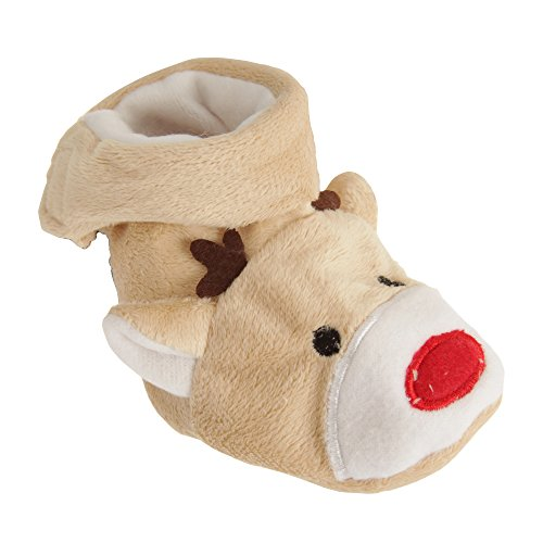 Nursery Time - Calzini di Natale con Renna Rudolph per neonati (0/6 mesi) (Marrone)