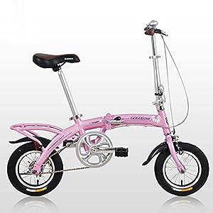 41cQ 0p8Y3S. SS300 HEZHANG Bicicletta Pieghevole da 12 Pollici, Bici da Commutatore Singolo, per Altezza 140-180 cm Uomini e Donne,Rosa