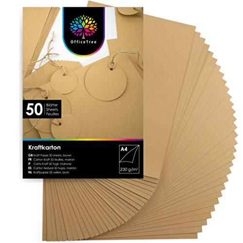OfficeTree A4 Kraftpapier 230g - 50 Blätter - Braunes Papier zum Basteln, Bedrucken und Malen - Kartonpapier A4 - Craft Papier