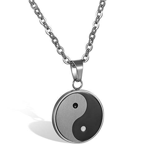 JewelryWe Colgante de Ying Yang Taichi Collar de Hombre, Amuleto Colgante de Acero Inoxidable Collar de Buena Fortuna