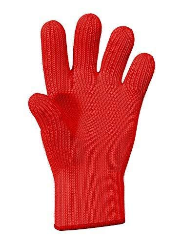 Heat Resistant Oven Gloves with Fingers - 1 pcs Red Kitchen Oven Mitt Set - Pot Holders Cotton Gloves - Double Oven Kitchen Glove