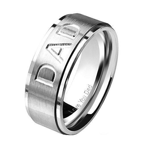 beyoutifulthings MOM DAD GRAVUR bandring chirurgisch staal 316L verlovingsring partnerring trouwring zilver zwart roségoud 47(15)-69 (22)