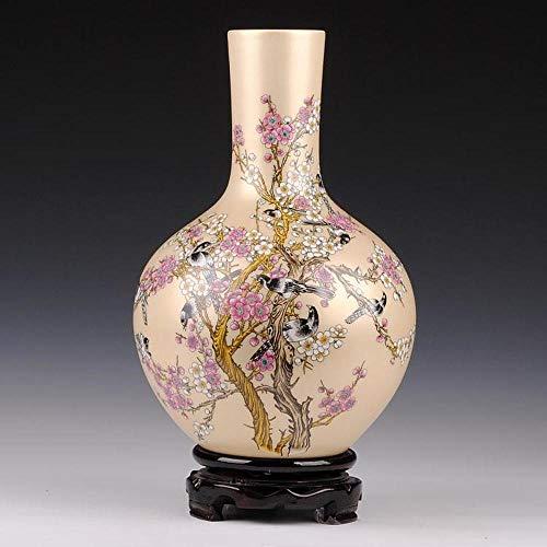 BXU-BG Flores y pájaros Jingdezhen florero de cerámica decoración for el hogar Adornos Mobiliario Crafts Estante decoración Enviar Base Crafts