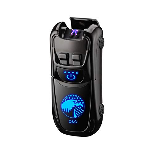 Dual Arc Lighter Double Arc Plasma Lighter USB Rechargeable Windproof Flameless Electronic No Gas Lighters Good for Cigar Candle Cigarette(Black Eagle)