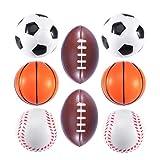 BESTOYARD 8 Pcs Mini Mousse Balle De Sport Drôle Jouet Balles Stress Ball Jouets pour Enfants Party Favor Toy (Football, Basketball, Baseball, Rugby, Chaque Modèle a 2pcs)