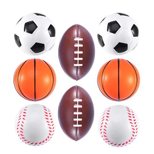 BESTOYARD PU Mini Ball Spielzeug Fußball Basketball Baseball Rugby Für Baby Kind Kind 8 Stücke 6,3 cm