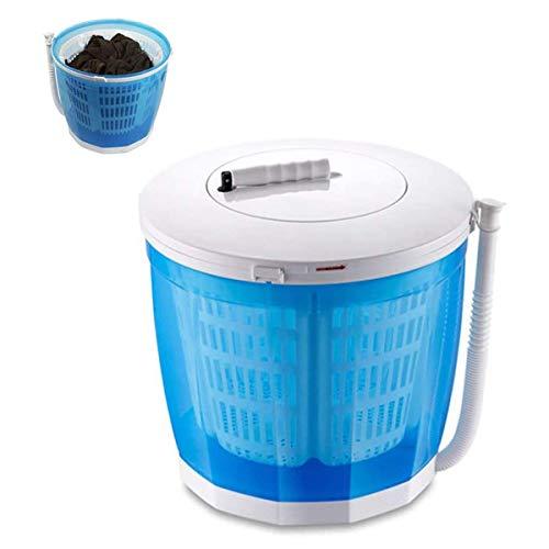 WYJW Tragbare manuelle Waschmaschine Handkurbel Mini-Waschmaschine Doppelwaschzyklen mit automatischem Ablauf Kompaktes Design Blau für Apartment, Hotel, Wohnheim Camping