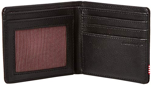 Herschel Men's Hank RFID Bi-Fold Wallet, Black/Black Synthetic Leather, One Size