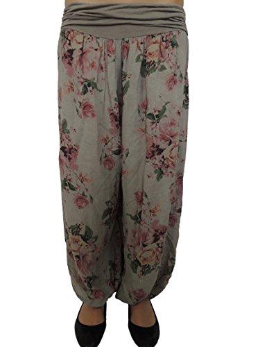 Nowingline 11 Farben Damen Pumphosen mit Rosendruck Gr 42 44 46 48 50 52 54 (Schlammfarbe)