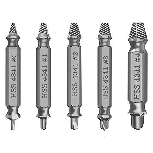Newder Schraubenausdreher Set, 5 Stück Beschädigte Schraube Entferner Extraktor Set zum Entfernen leicht beschädigter Schrauben, Hergestellt aus HSS 4341 Härtegrad 62-63hrc