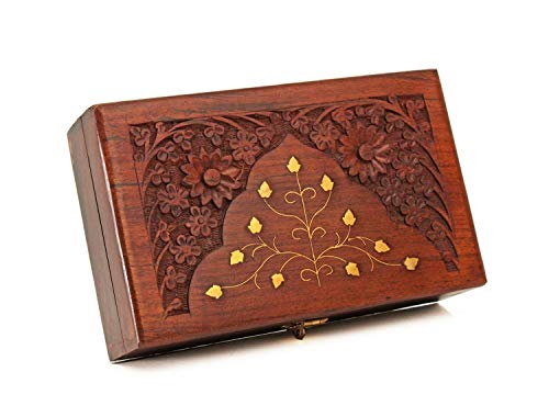 STORE INDYA Diwali Gifts Wooden Keepsake Storage Box Jewelry Trinket Holder Organizer Floral Hand Carvings with Brass Inlay
