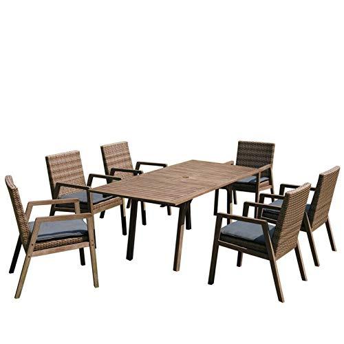 Brema Gartenmöbel/Gartenmöbelgarnitur Fiji Akazienholz White-wash Optik, ausziehbarer Tisch und 6 Sessel mit Kissen, Alu/Polyrattan 13tlg.
