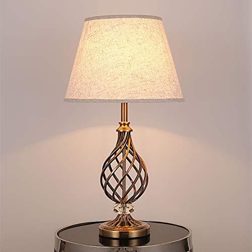 E27 Lámpara de Mesa Fácil Vintage Pequeño Lámpara de Escritorio Diseño Industrial Planchar Cristal Lámpara de Noche Pantalla de Tela Cuarto Decorativo Lampara de Lectura, para Hotel Sala Estudio