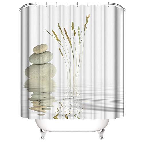 LLLTONG Duschvorhang wasserdichter Polyester Mehltau Dicker Polyester Duschvorhang 3D Digitaldruck Zen Steine