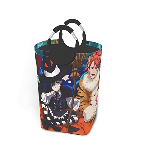 Black Butler Happy Halloween Japan Animelarge Laundry Basket Bag with Handle for Washing Dirty Laundry, Foldable Dirty Laundry Basket Can Be Folded for Storage